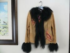 NWT - DOUBLE D RANCH BUCKSKIN SHADE SUEDE LEATHER EMBROIDERED MONGOLIAN FUR - SM