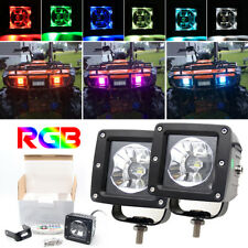 Pack 2 3INCH CREE LED Work Light Bar Spot Cube Pods RGB Color Changing SUV