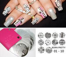 10stk Born Pretty Nagel Stamping Schablone mit Hülle Case Tasche Halter