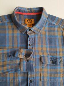 Stapleford Slim Fit Flannel Plaid Shirt Blue/Grey Check Cotton Grunge *M*TR64