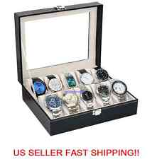 H82 10 Slot Watch Box Leather Display Case Organizer Glass Jewelry Storage Black