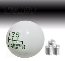 Universal 6 Speed Round Ball F'Ing Fast Shifter Shift Knob Mt Gear White/Green