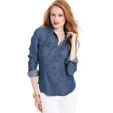GUESS Women's Long sleeve Denim Button Up Shirt Blue SIZE SMALL