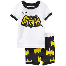 Kids Boys Batman Spider-man Pajamas Sleepwear 2Pcs Pyjamas Pj's Night Homewear