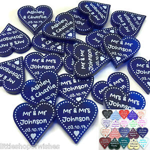Personalised Wedding Favours Table Decorations Mr and Mrs Decor Heart Confetti
