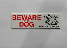 Beware of Dog Enter at your own Risk Sign Peel & Stick-On Sign 20cm x 6cm