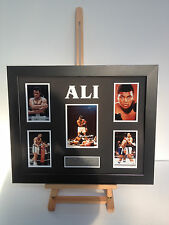 UNIQUE PROFESSIONALLY FRAMED, SIGNED MUHAMMED ALI PHOTO COLLAGE WITH PLAQUE.