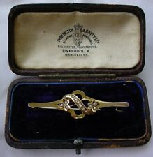 VICTORIAN 9CT YELLOW GOLD SEED PEARL SET BAR BROOCH PIN ENGLISH LOVELY! 9kt