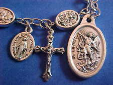 Custom METAL Religious Rosary Bracelet ARCHANGEL St MICHAEL Saint 9mm Stainless