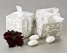 24 Classic Damask White and Silver Wedding Favor Boxes