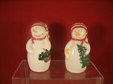 Nib Christmas Snowman Ceramic Salt And Pepper Shakers Certified International