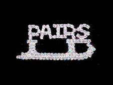 Sparkling Swarovski Crystal Pairs Blade Skating Lapel Pin - Sterling Plated!