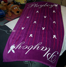 Playboy Logo Purple Script Printed Velour Beach Towel 75cm x 150cm New