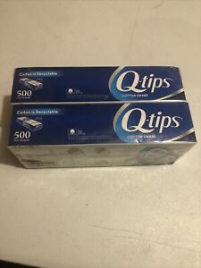 2 Packs Q-tips Cotton Swabs 500 Count Each