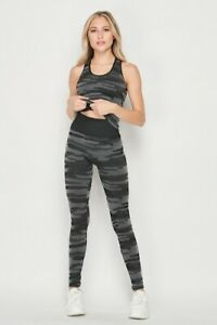 Seamless 2 Piece Camo Active Jogger Yoga Suit One Size