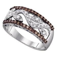 10k White Gold Round Brown Color Enhanced Diamond Floral Band Ring 3/8