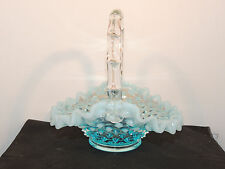 Fenton Blue Opalescent Hobnail Handle Basket Ruffled Edge (11602)