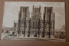 Postcard wells Cathedral West front posted 1935