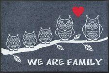 Fussmatte We are Family mit Eulen Fußabstreifer grau waschbare Türmatte 50x75 cm