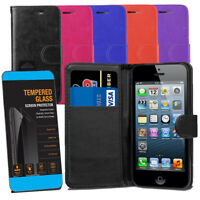 For iPhone 5 5S SE - Leather Wallet Flip Case Cover + Tempered Glasses Screen