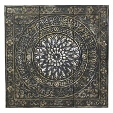 Large Square Raised Relief Medallion Metal Wall Art Panel Sculpture Home Decor
