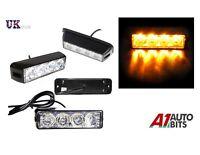 12V 24V  4 LED Orange Amber Light Lamp Recovery Flashing Breakdown Strobe Grill
