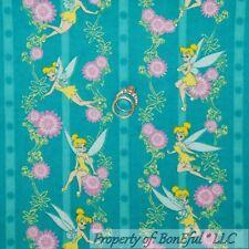 BonEful Fabric Cotton Flannel Disney Tinkerbell Stripe Flower Fairy Girl L SCRAP