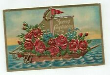 "Antique ""Congratulations"" Embossed Post Card Boatload of Roses Gold Foil"