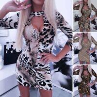 Sexy Women Leopard Print Bodycon Long Sleeve V-Neck Mini Dress Party Clubwear