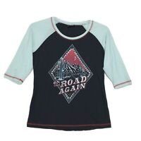 Cruel Raglan Tee T Shirt Womens L 3/4 Sleeve ON THE ROAD AGAIN Desert Graphic