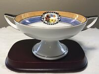 Antique Noritake Hand Painted Dual Handled Pedestal Compote Bowl Lusterware 3.5""