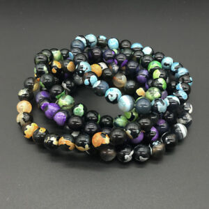 8MM Natural Lava Stone Colorful Beads Fashion Hand Beads Beaded Couples Bracelet