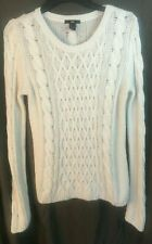 H&M JUMPER -Small 8 10 - Ivory / off white -Thin cable Knitted top Long sleeve W