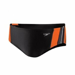 Speedo Men's Lycra Rapid Splice Swim Brief # 32 NWT Orange/Black