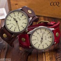 CCQ Retro Men's Women's Cow Leather Quartz Analog Casual Bracelet Wrist Watches