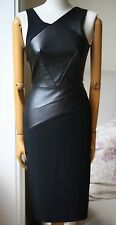 Roland Mouret Arley in Pelle Anteriori Nero Abito US 2 UK 6