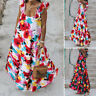 Plus Size Ladies Womens Tie-dye Print Sleeveless Summer Frill Strappy Maxi Dress
