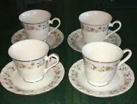 SHEFFIELD BOUQUET JAPAN SWIRLED FLORAL 4 CUP & SAUCER SETS PLATINUM RIMS EUC