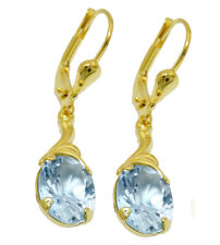 ECHT GOLD *** Aquamarin synthetisch Ohrringe Ohrhänger 30 mm