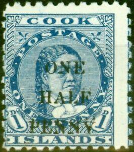 Cook Islands 1899 1/2d on 1d Blue SG21 Fine Mtd Mint