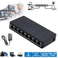 8-Port 10/100Mbps Ethernet Network Switch HUB Desktop Fast LAN Switcher Adaplo