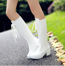Womens Combat Knee High Boots Lace Up Block Heels Shoes Plus Size Elegant Party