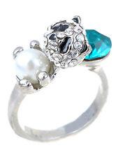 Adjustable Silver Tone Aqua Blue Rhinestone Faux Pearl Tone Panda Ring