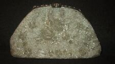 Beautiful Vintage Hand Beaded Silver Frame Purse Handbag