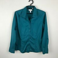 Chico's Blouse Womens Size 2 Solid Teal No-Iron Button Up Long Sleeve Cotton