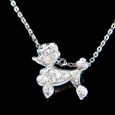 w Swarovski Crystal ~White Miniature POODLE Puppy DOG Pet Charm Pendant Necklace