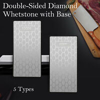 "Professional Diamond Sharpening Stone 6"" Whetstone Extra Fine/Fine/Coarse & Base"
