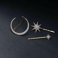 3PCS/Set Women Hair Clip Rhinestone Hairpin Slide Grips Barrette Clips Moon Star