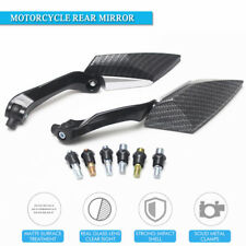 Pair 8/10mm carbon fiber Black Motorcycle Motorbike Wing Side rear view mirror