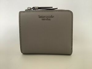 New Ladies Kate Spade 'Cameron' Small Grey Leather L-zip Bifold Compact Wallet